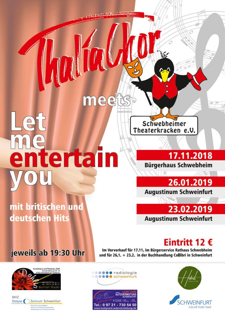 "Konzertplakat Thalia Chor Schweinfurt ""let me Entertain you"" 2019"